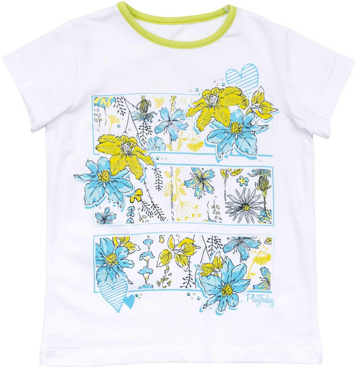 Футболка для девочки PlayToday, цвет: белый, голубой, желтый. 172114. Размер 104172114Футболка для девочки PlayToday свободного классического кроя прекрасно подойдет как для домашнего использования, так и для прогулок на свежем воздухе. Можно использовать в качестве базовой вещи повседневного гардероба вашего ребенка. Яркий стильный принт является достойным украшением данного изделия.