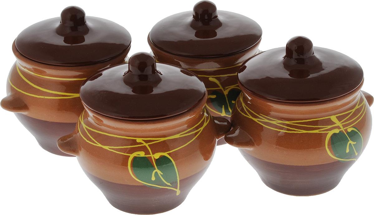 Набор горшочков для запекания Борисовская керамика Подарочный, цвет: светло-коричневый, коричневый, зеленый, 500 мл, 4 шт набор горшочков для запекания борисовская керамика стандарт с крышками цвет коричневый зеленый белый 500 мл 4 шт