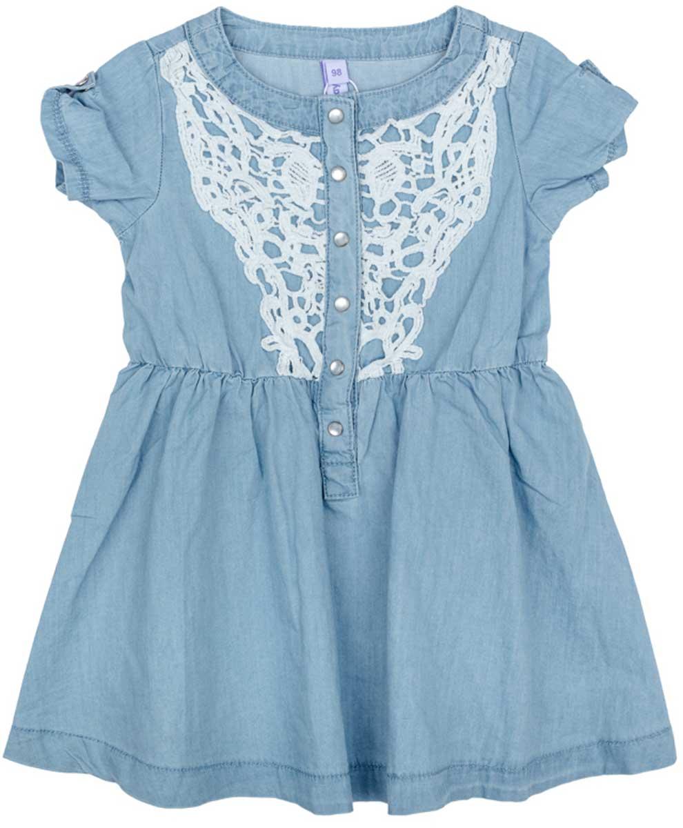 Платье для девочки PlayToday, цвет: голубой, белый, желтый, зеленый. 172157. Размер 122172157Платье PlayToday, отрезное по талии, с округлым вырезом у горловины, понравится вашей моднице. Свободный крой не сковывает движений. Приятная на ощупь ткань не раздражает нежную кожу ребенка. Модель декорирована вставкой из ажурного шитья.