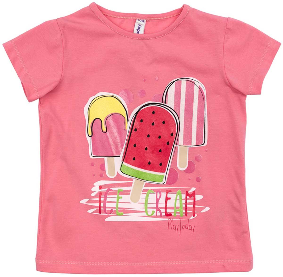 Футболка для девочки PlayToday, цвет: розовый, красный, желтый, светло-зеленый. 172163. Размер 116172163Футболка для девочки PlayToday выполнена из хлопка и эластана. Модель с круглым вырезом горловины и короткими рукавами оформлена оригинальным принтом.