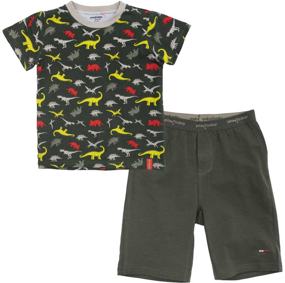 Комплект для мальчика PlayToday: футболка, шорты, цвет: темно-серый. 175003. Размер 98175003Комплект из майки и шорт прекрасно подойдет для домашнего использования. Может быть и домашней одеждой, и уютной пижамой. Мягкий, приятный к телу, материал не сковывает движений. Яркий принт является достойным украшением данного изделия.