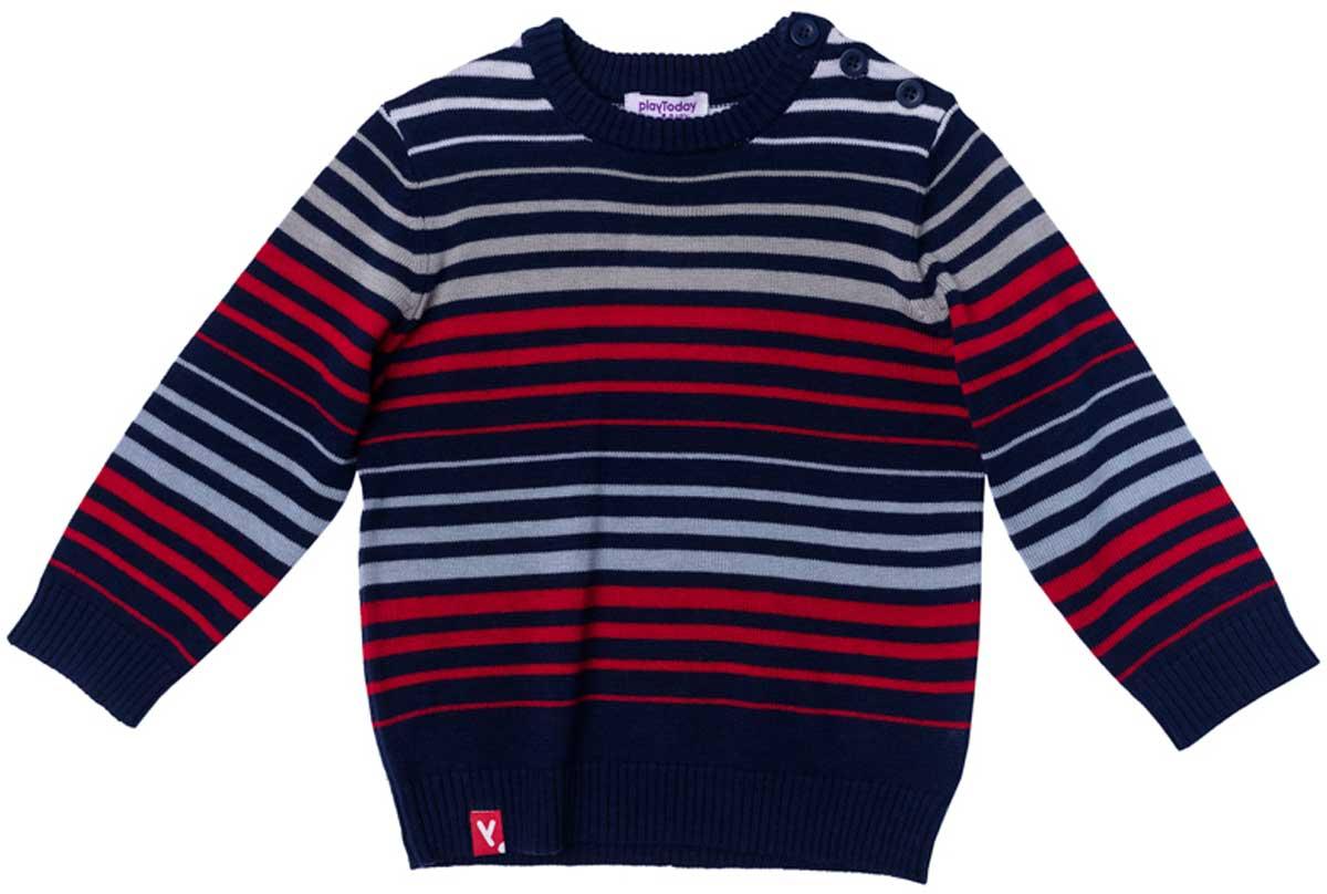 Джемпер для мальчика PlayToday, цвет: синий, серый, красный. 177005. Размер 80177005Джемпер прекрасно подойдет для прохладной погоды. Натуральный материал приятен к телу и не сковывает движений ребенка. Метод вязки изделия - yarn dyed - в процессе производства в полотне используются разного цвета нити. Тем самым джемпер, при рекомендуемом уходе, не линяет и надолго остается в прежнем виде, это определенный знак качества. Для удобства одевания и снимания у горловины модель снабжена пуговицами. Мягкие резинки на манжетах и по низу изделия позволяют ему держать форму.