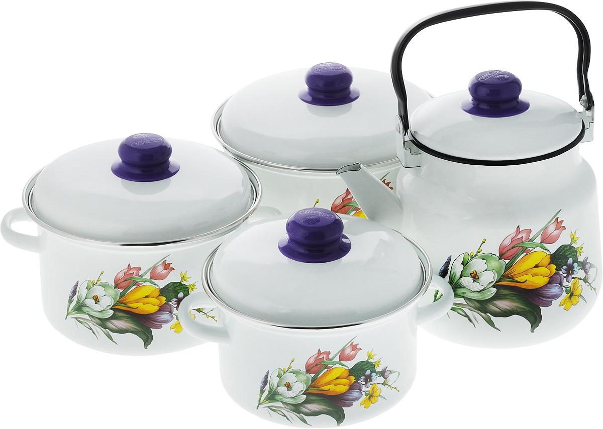 Набор посуды Эмаль Крокусы, 7 предметов2-3128/4Набор посуды Эмаль Крокусы состоит из 3 кастрюль разного объема, 3 крышек и чайника. Изделия выполнены из качественной эмалированной стали. Эмаль защищает сталь от коррозии, придает посуде гладкую поверхность и надежно защищает от кислот и щелочей. Эмаль устойчива к пищевым кислотам, не вступает во взаимодействие с продуктами и не искажает их вкусовые качества. Прочный стальной корпус обеспечивает эффективную тепловую обработку пищевых продуктов и не деформируется в процессе эксплуатации. Внешняя поверхность изделий оформлена красочным изображением. Кастрюли и чайник снабжены стальными крышками с удобными пластиковыми ручками. Чайник имеет прочную подвижную металлическую ручку. Посуда подходит для газовых, электрических, стеклокерамических и индукционных плит. Объем кастрюль: 2 л; 3 л; 4 л. Диаметр кастрюль (по верхнему краю): 19 см; 21 см; 23 см. Ширина кастрюль (с учетом ручек): 24 см; 26 см; 28 см. Высота стенки кастрюль: 10 см; 11,5 см; 13 см. Диаметр индукционного дна кастрюль: 14 см; 15,5 см; 18 см.Объем чайника: 3,5 л. Высота чайника (без учета крышки и ручки): 18 см. Диаметр чайника (по верхнему краю): 15,5 см.Диаметр индукционного дна чайника: 13,5 см.