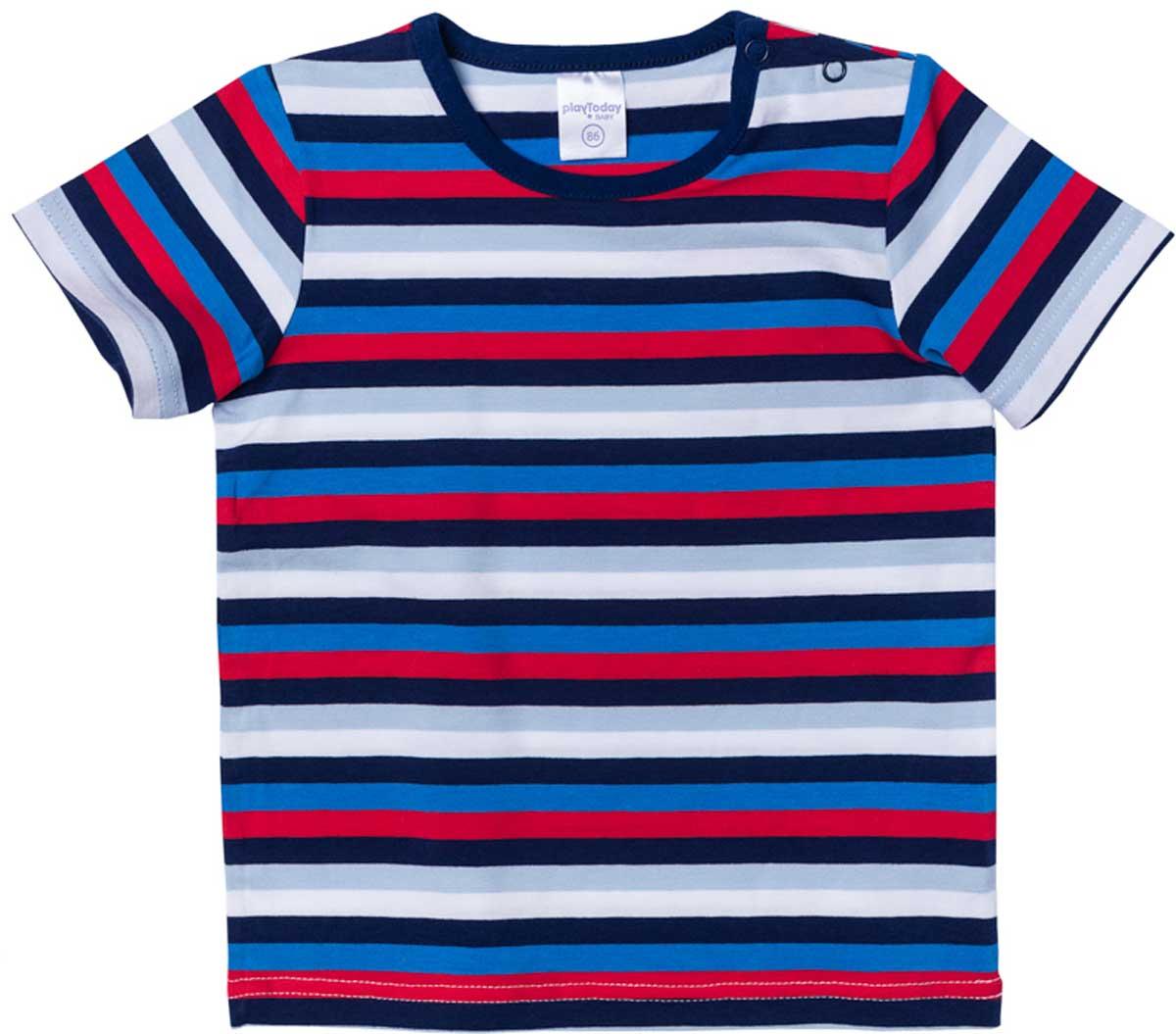 Футболка для мальчика PlayToday, цвет: белый, синий, черный. 177022. Размер 74177022Футболка для мальчика PlayToday выполнена из хлопка и эластана. Модель с круглым вырезом горловины и короткими рукавами оформлена принтом в полоску.