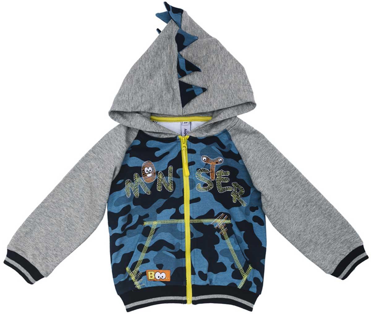 Толстовка для мальчика PlayToday, цвет: серый, голубой, черный. 177060. Размер 86