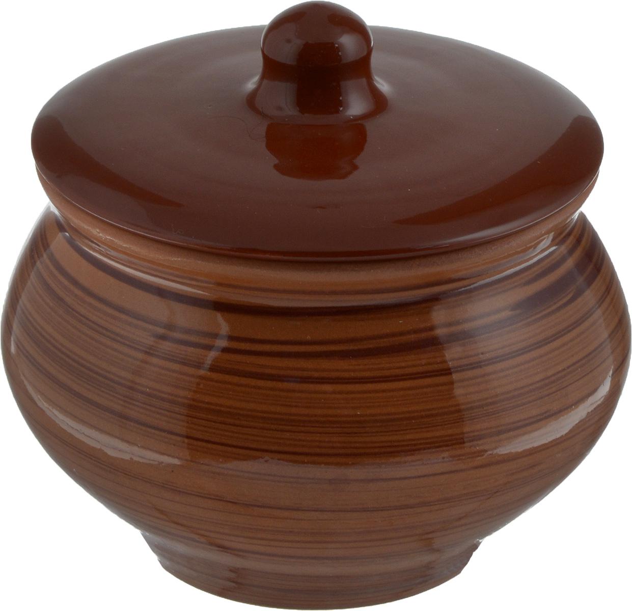 """Горшок для запекания Борисовская керамика """"Cтандарт"""", с крышкой, цвет: светло-коричневый, 1,3 л"""