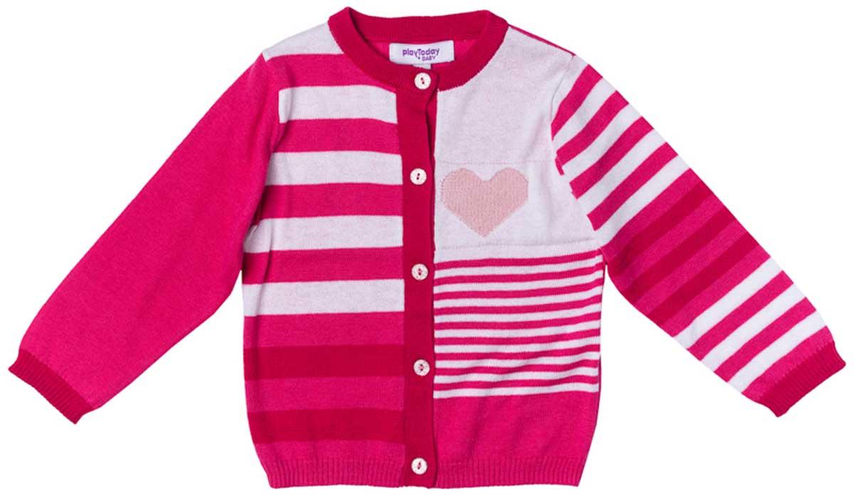 Кофта для девочки PlayToday, цвет: розовый, светло-розовый, белый, серый. 178006. Размер 92178006Кофта для девочки PlayToday выполнена из хлопка, акрила и нейлона. Модель на пуговицах. Мягкие резинки на манжетах и по низу изделия позволяют ему держать форму.