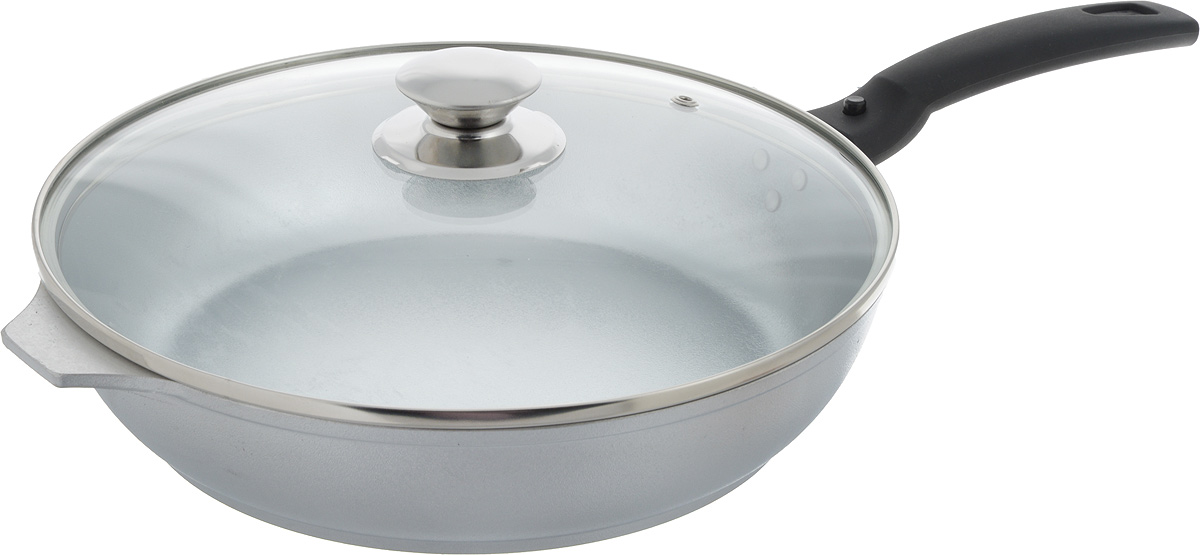 """Сковорода """"Kukmara"""" изготовлена из высококачественного алюминия. С таким покрытием пища не пригорает и посуда легко моется. Благодаря прочному дну происходит идеальное и равномерное распределение тепла. Сковорода имеет удобную съемную ручку, изготовленную из ненагревающегося материала и стеклянную крышку.Подходит для электрических и газовых плит. Диаметр сковороды (по верхнему краю): 26 см.Высота стенки сковороды: 6 см.Длина ручки сковороды: 17,5 см."""