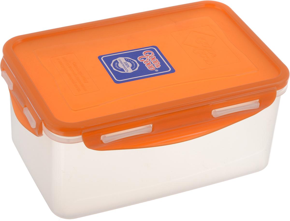 Контейнер пищевой Good&Good, цвет: прозрачный, оранжевый, 1,5 л. B/COL 3-2 контейнер good&good 2 2 л 13х20х13 см прямоуг полипропилен