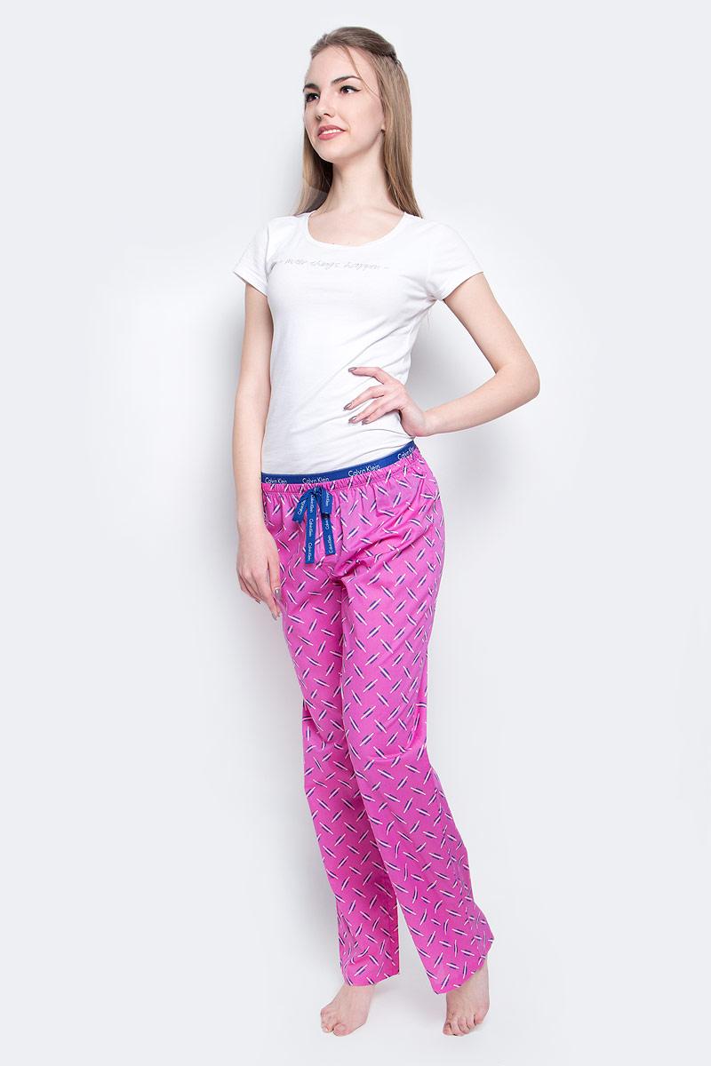 Брюки пижамные женские Calvin Klein Underwear, цвет: розовый, синий. QS1682E_IN1. Размер S (42) трусы calvin klein underwear calvin klein underwear ca994ewrgc91