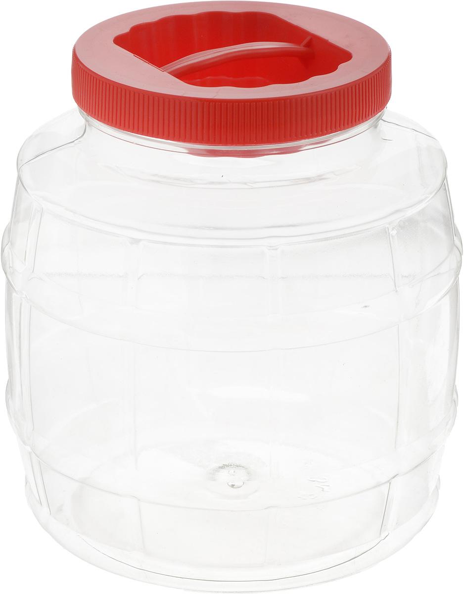 Емкость Альтернатива Бочонок, с ручкой, цвет: красный, прозрачный, 3 лM677Емкость Альтернатива Бочонок предназначена для хранения сыпучих продуктов или жидкостей. Выполнена из высококачественного пластика. Оснащена ручкой для удобной переноски.Диаметр (по верхнему краю): 10,5 см.Высота (без учета крышки): 17,5 см.