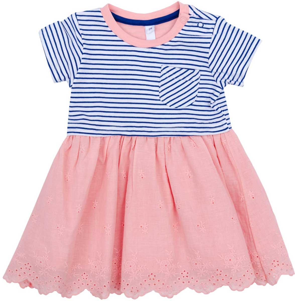 Платье для девочки PlayToday, цвет: розовый, серый, белый. 178060. Размер 74178060Платье PlayToday, отрезное по талии, с округлым вырезом у горловины, понравится вашей моднице. Свободный крой не сковывает движений. Приятная на ощупь ткань не раздражает нежную кожу ребенка. Модель декорирована небольшим аккуратным карманом.