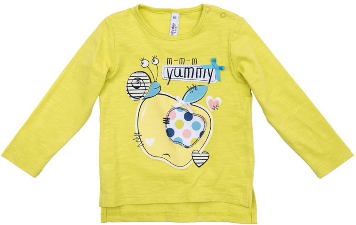 Лонгслив для девочки PlayToday, цвет: желтый. 178064. Размер 74178064Лонгслив для девочки PlayToday свободного классического кроя прекрасно подойдет как для домашнего использования, так и для прогулок на свежем воздухе. Можно использовать в качестве базовой вещи повседневного гардероба вашего ребенка. Для удобства снимания и одевания у горловины расположены две застежки - кнопки.