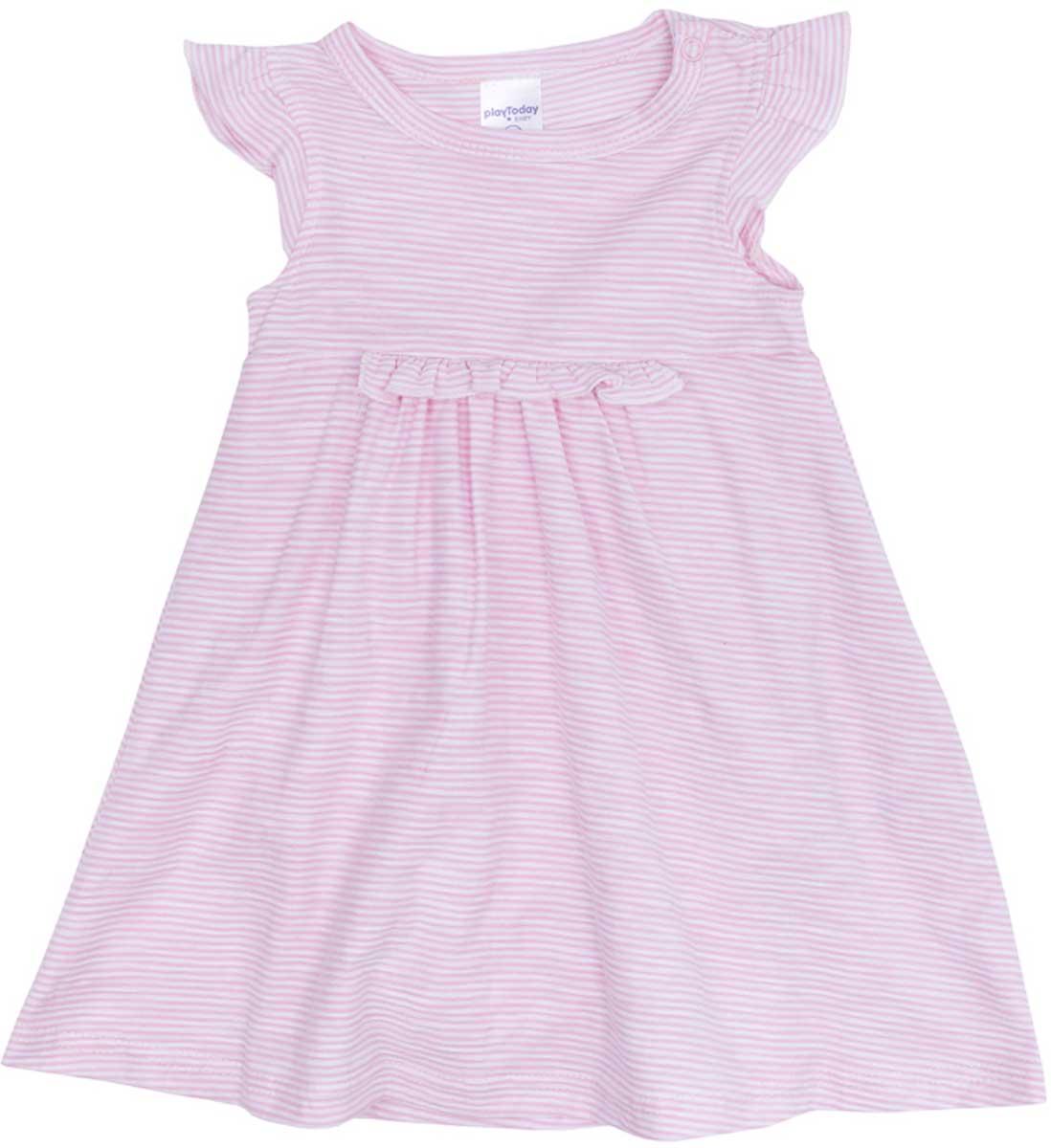 Платье для девочки PlayToday, цвет: светло-розовый, белый. 178809. Размер 56178809Платье PlayToday с завышенной талией, с округлым вырезом у горловины, понравится вашей моднице. Свободный крой не сковывает движений. Приятная на ощупь ткань не раздражает нежную кожу ребенка. Модель на рукавах декорирована небольшими оборками, что создает эффект крылышек.