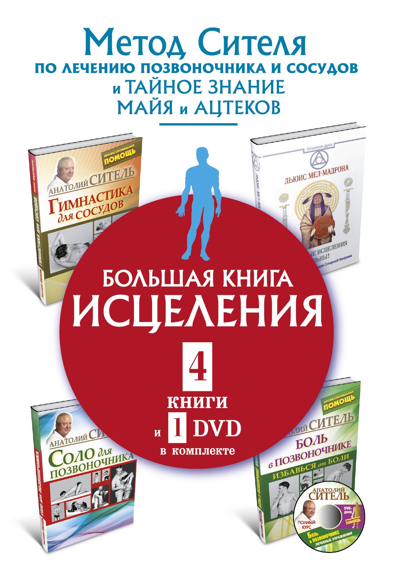 Анатолий Ситель Большая книга исцеления (комплект из 4 книг + DVD) книга для записей с практическими упражнениями для здорового позвоночника