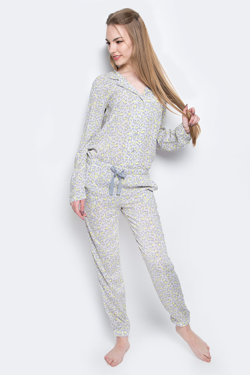 Брюки домашние женские Calvin Klein Underwear, цвет: серый, желтый. QS5418E_DY8. Размер S (42) трусы calvin klein underwear calvin klein underwear ca994ewrgc91