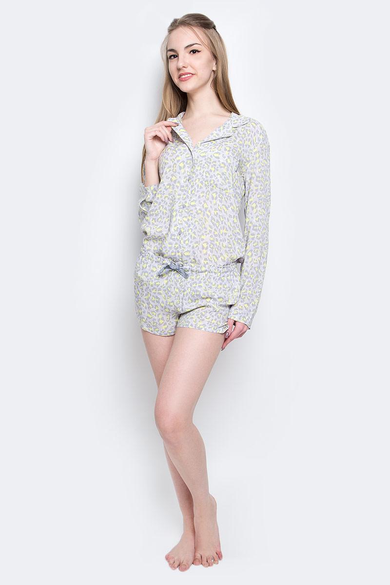 Шорты домашние женские Calvin Klein Underwear, цвет: серый, желтый. QS1679E_DY8. Размер S (42) трусы calvin klein underwear calvin klein underwear ca994ewrgc91