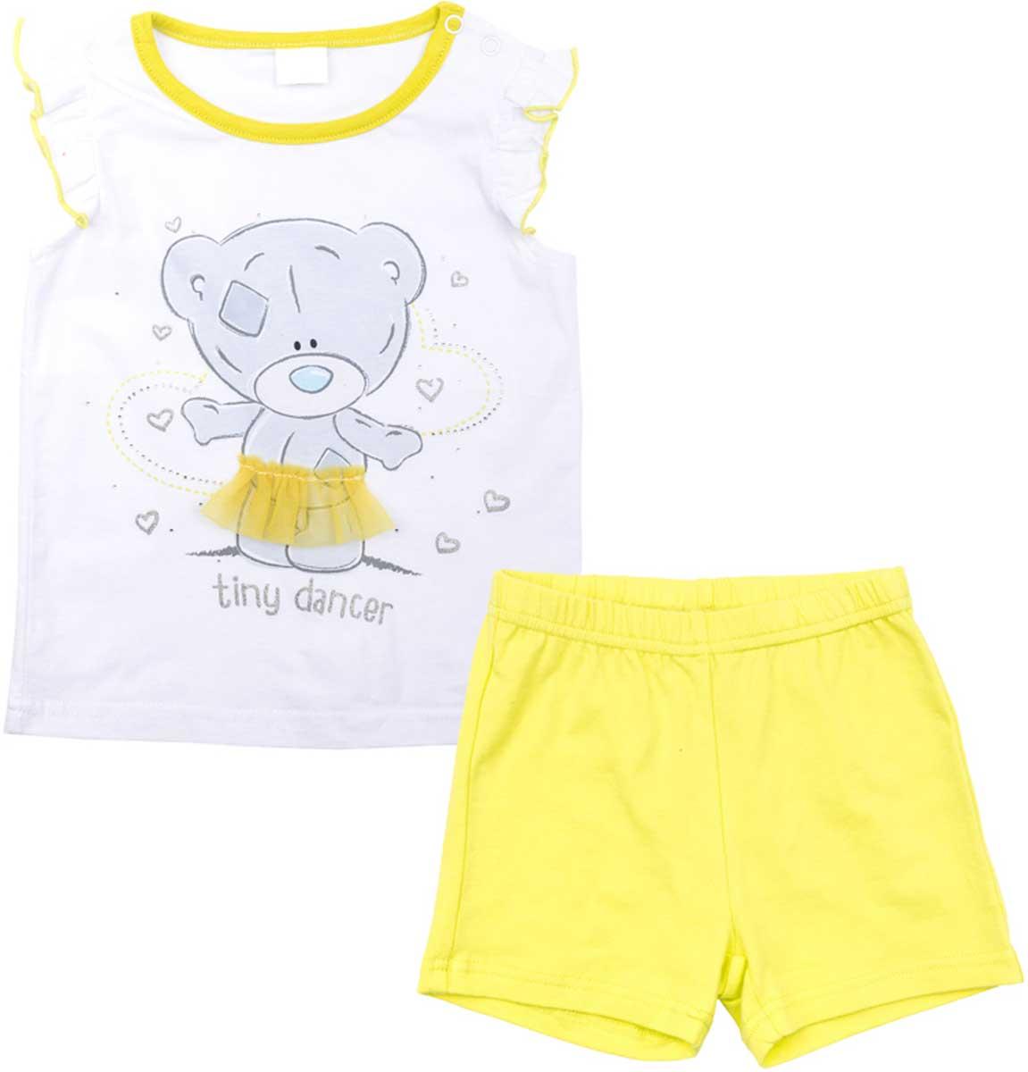 Комплект для девочки PlayToday: майка, шорты, цвет: белый, желтый. 678054. Размер 86678054Комплект PlayToday из майки и шорт прекрасно подойдет как для домашнего использования, так и для прогулок на свежем воздухе. Мягкий, приятный к телу материал не сковывает движений. Яркая аппликация является достойным украшением данного изделия. Шорты на мягкой удобной резинке с удобным регулируемым шнуром - кулиской. Рукава майки с легкими оборками, что создает эффект крылышек.