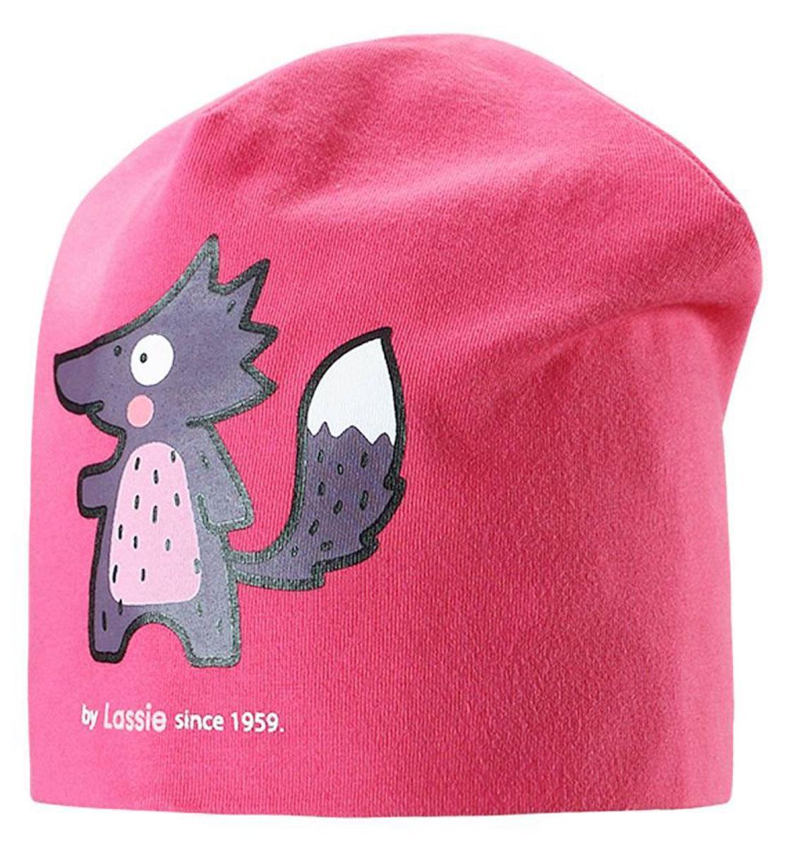 Шапка детская Lassie, цвет: розовый. 7187173400. Размер 46/487187173400Базовая шапка для малышей с забавным рисунком в лисички. Шапка сделана из легкого и удобного джерси на полной трикотажной подкладке из гладкого дышащего смесового хлопка. Она снабжена рисунком сбоку и светоотражающей эмблемой на заднем шве.