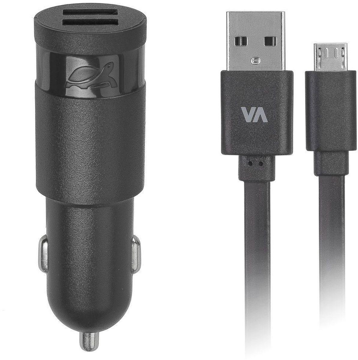 Rivapower VA4223 BD1, Black автомобильное зарядное устройствоVA4223 BD1Универсальное автомобильное зарядное устройство Rivapower VA4223 совместимо со всеми устройствами, использующими USB порт для зарядки своих аккумуляторов. Позволяет заряжать 2 устройства одновременно, занимая всего один автомобильный разъем электропитания. Высококачественные компоненты, встроенные фильтры, защита от скачков напряжения, защита от перегрузки, перегрева и короткого замыкания делают процесс зарядки быстрым, эффективным и безопасным. Корпус сделан из негорючего пластика, устойчивого к механическим повреждениям.Ультра компактные размеры зарядного устройства позволяют использовать его даже в автомобилях с ограниченным пространством вокруг автомобильного разъема электропитания. В комплект входит дата-кабель microUSB длиной 1 метр.