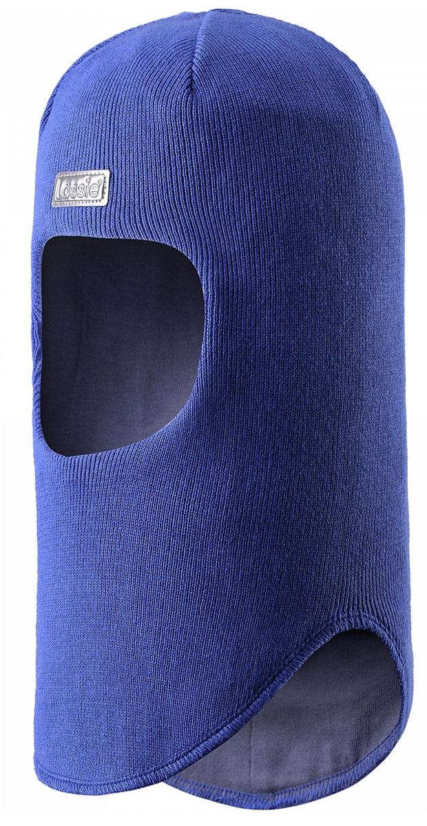 Балаклава детская Lassie, цвет: синий. 7187116690. Размер 44/467187116690Классическая эластичная и быстросохнущая балаклава Lassie изготовлена из эластичного хлопкового трикотажа. Снабжена полной подкладкой из мягкого и дышащего джерси из смеси хлопка. Эта шапка с ветронепроницаемыми вставками для ушей надежно защищает лоб, уши и шею от холодного ветра. Имеется светоотражающая эмблема спереди.