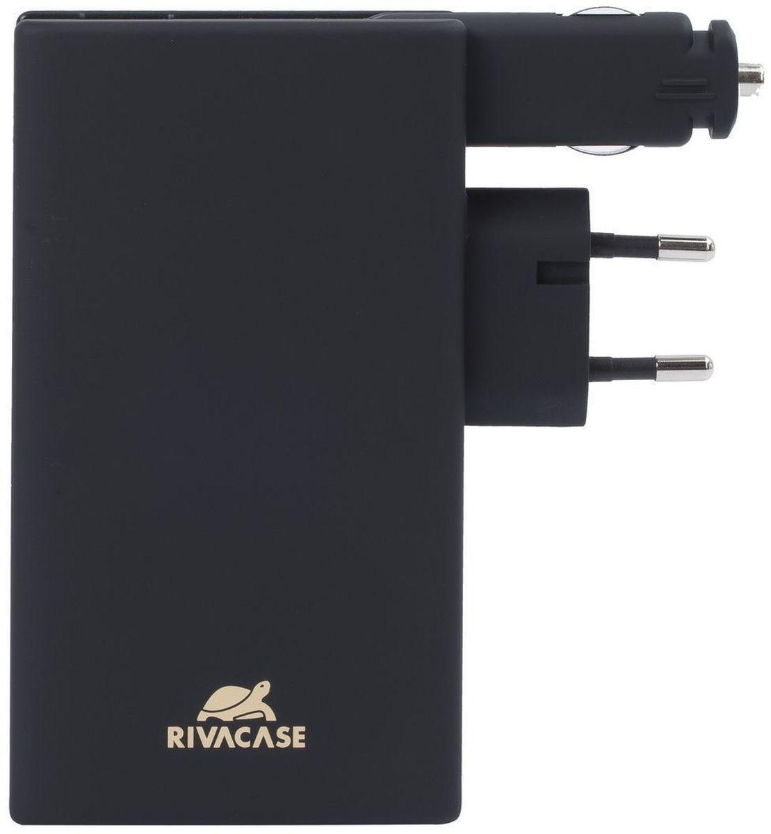Rivapower VA4749, Black внешний аккумулятор (5000 мАч)VA 4749Rivapower VA4749- это литий-полимерный аккумулятор. Совместим с большинством популярных моделей смартфонов и планшетов, включаяiPhone 5/6 и iPad 3. Для зарядки устройств Apple необходимо наличие оригинального кабеля Apple Lightning.Имеет защиту от перегрузок, короткого замыкания, чрезмерного заряда и разряда. Имеется функция автоматического включения/выключения.Достаточно подключить кабель к micro-USB разъему мобильного устройства, и он уже заряжается.Для проверки уровня заряда встряхните аккумулятор. 4 светодиодных индикатора покажут оставшийся уровень заряда. Нажмите кнопку назадней стороне устройства, чтобы освободить вилку. По завершении зарядки снова нажмите кнопку, чтобы убрать вилку внутрь устройства. Длязарядки устройства в автомобиле разверните автомобильный штекер и вставьте его в прикуриватель. Не используйте оба зарядных разъемаодновременно.