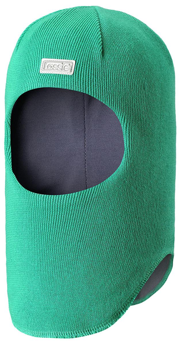 Балаклава детская Lassie, цвет: зеленый. 7187118810. Размер 44/467187118810Классическая эластичная и быстросохнущая балаклава Lassie изготовлена из эластичного хлопкового трикотажа. Снабжена полной подкладкой из мягкого и дышащего джерси из смеси хлопка. Эта шапка с ветронепроницаемыми вставками для ушей надежно защищает лоб, уши и шею от холодного ветра. Имеется светоотражающая эмблема спереди.