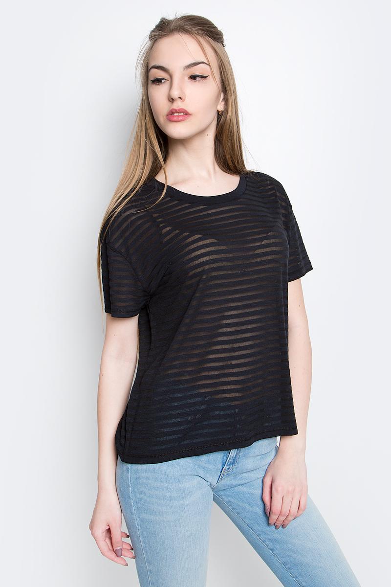 Футболка женская Lee Sheer Stripe, цвет: черный. L40WOL01. Размер S (42) джинсы lee l301kims