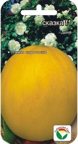 Семена Сибирский сад Дыня. Сказка, 10 штBP-00000199Отличный раннеспелый сорт. От полных всходов до созревания 58-63 дня.Отличается высокой дружностью созревания плодов. Растение среднеймощности, среднеплетистое. Плоды эллиптические, желтые, массой 1,6-1,8 кг.Кора гладкая, с редкой сеткой у плодоножки. Мякоть светло-кремовая, плотная,сочная, сладкая. Вкусовые качества отличные. Транспортабельность и лежкостьсредняя. Сорт устойчив мучнистой росе, толерантен к пероноспорозу и бахчевойтле. Урожайность 2-3 кг/1 м2.