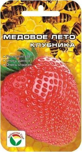 Семена Сибирский сад Клубника. Медовое лето, 5 штBP-00000235Новый крупноплодный ремонтантный сорт, выгодно отличающийся суперранними сроками плодоношения, суперсладким вкусом и сильным ароматом ягод. Сорт нейтрального дня, формирует плодоносящие усы в год посадки, обеспечивая дружную отдачу урожая дважды в сезон. С каждого куста можно собрать до 900 грамм сладких красивых ягод, выровненных по форме и размеру вне зависимости от их количества на ветви. При хорошем уходе первый урожай можно получать уже в начале июня. Основное достоинство сорта во вкусе и аромате ягод, в ранних сроках созревания и плотной консистенции мякоти, допускающей долговременную транспортировку. Кусты этого сорта требуют больше места, т.к. с усами занимают площадь почти 0,7 м2. В открытом грунте или на стеллажах в теплицах, когда корневая система развивается беспрепятственно, кисти вырастают длинной до 40-45 см, что придает дополнительную декоративность растению. Сорт можно выращивать и в подвесных емкостях, обеспечивая ежедневный полив и регулярные подкормки. Важнейшее условие получения высоких урожаев для данного сорта – регулярные обильные поливы и органические подкормки не реже 1 раза в неделю.Внимание! Семена клубники туговсхожие! Необходимо строго соблюдать посевной режим! Всходы чаще всего появляются неравномерно в течение 30-40 дней (до 60 дней).Сеять семена на рассаду можно в различное время года, однако лучшее время для посева - зима (конец января - март). Подготовка почвенной смеси заключается в следующем: 3 части песка перемешивают с 5 частями рассыпчатого перегноя и прогревают в духовом шкафу 3-4 часа при температуре 90-100°С. Семена аккуратно раскладывают на поверхности слегка уплотненного и увлажненного грунта, накрывают слоем снега толщиной 5 см, сверху горшочки закрывают пленкой для предотвращения пересыхания почвы. На 3-5 дней посевные горшочки ставят в холодное место (температура 0...+5°C), затем для прорастания семена держат при постоянной температуре +22°С, не допуская перес