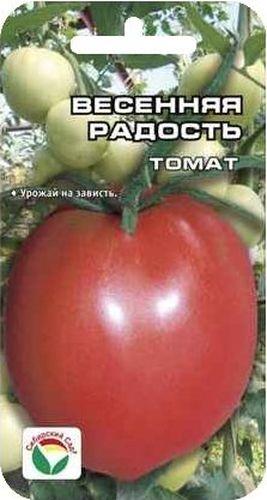 Семена Сибирский сад Томат. Весенняя радость, 20 штBP-00000469Среднеранний, очень урожайный сорт для теплиц, позволяющий в полной мере использовать возможности защищенного грунта. Растение индетерминантное, мощное, со сближенными междоузлиями, высотой до 2 м. На кусте формируется 5-6 мощных кистей с красивыми однородными плодами интенсивно - красного цвета. Томаты ровные, округлые с носиком, с темным прозревающим пятном у плодоножки, крупные, массой 180-250 г. Плоды высокотоварные, с плотной консистенцией стенки, длительно сохраняют форму, хорошего вкуса. Урожайность сорта более 12 кг/м2. Сорт характеризуется хорошей устойчивостью к основным заболеваниям томатов. Назначение универсальное. Для получения стабильного урожая лучше высаживать рассадные растения 60-65 дневного возраста.Посев на рассаду производят за 50-60 дней до высадки растений на постоянное место. Оптимальная постоянная температура прорастания семян 23-25 град. При высадке в грунт на 1 м2 размещают 3 растения. Сорт хорошо реагирует на полив и подкормки комплексными минеральными удобрениями. Выращивается в 1-2 стебля с подвязкой и пасынкованием .Для ускорения процесса всхожести семян, оздоровления растений, улучшения завязываемости плодов рекомендуется пользоваться специально разработанными стимуляторами роста и развития растений.