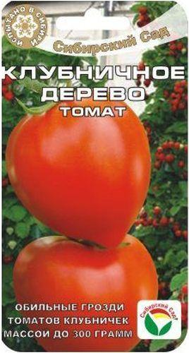 Семена Сибирский сад Томат. Клубничное дерево, 20 штBP-00000541Удачный среднеранний сорт от сибирских селекционеров. На уровне лучших гибридов по урожайности и качеству плодов, устойчивости к основным заболеваниям томатов.От всходов до плодоношения 112-115 дней. Растение высокорослое (до 2 м), мощное, хорошо облиственное. Формирует до 6 красивейших кистей с 5-7 красными томатами массой 200-250 г, в форме ягоды садовой клубники. За счет укороченных междоузлий кисти сближены, куст смотрится мощно и эффектно, как небольшое деревце, украшает теплицу. Плотные плоды обладают хорошим вкусом, хорошо дозариваются, универсального назначения. Рекомендуется для выращивания в защищенном грунте. Потенциальная урожайность до 12 кг с 1 м2.При необходимости защиты от фитофтороза и альтернариоза рекомендуется проводить профилактические обработки томатов. Первое опрыскивание - в стадии 4-6 настоящих листьев, последующие - с интервалом 7-10 дней, но не позднее 20 дней до начала сбора плодов.