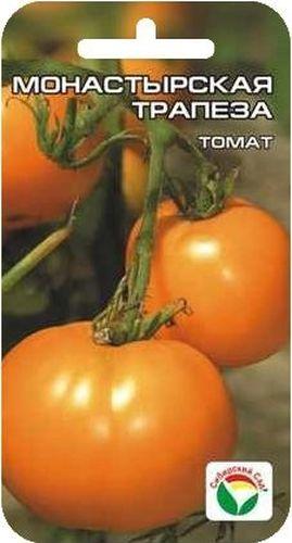Семена Сибирский сад Томат. Монастырская трапеза, 20 штBP-00000583Среднеранний, детерминантный сорт, с крупными плодами редкой апельсиново-оранжевой окраски. Куст высотой 0,7-1,5 м в зависимости от условий выращивания. На растении завязывается 7-9 кистей с солнечными плодами-близнецами, массой до 400 г. Томаты правильной круглой формы, плотные, цвета зрелых апельсинов. Вкус нежный, сахарный, с малым содержанием кислот. Рекомендуется для диетического питания. Хорошая, стабильная урожайность.Посев на рассаду производят за 50-60 дней до высадки растений на постоянное место. Оптимальная температура прорастания семян 23-25°С. При высадке в грунт на 1 м2 размещают 3-4 растения. Сорт хорошо реагирует на полив и подкормки комплексными минеральными удобрениями. Выращивают в 1-2 стебля с подвязкой.Для ускорения процесса всхожести семян, оздоровления растений, улучшения завязываемости плодов рекомендуется пользоваться специально разработанными стимуляторами роста и развития растений.