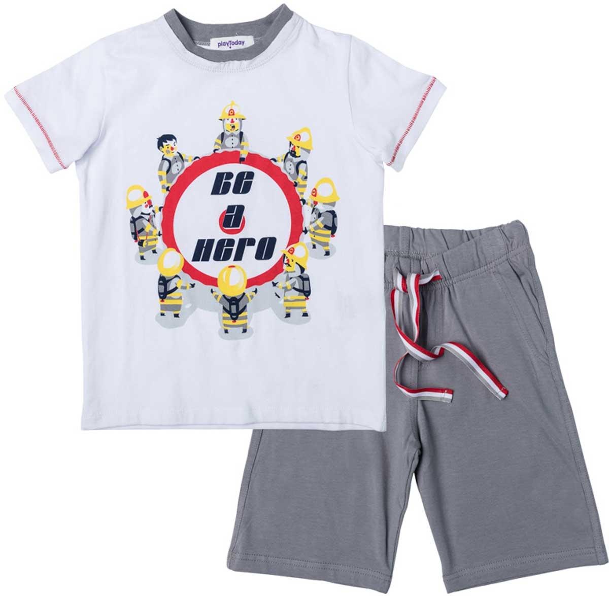 Комплект для мальчика PlayToday: футболка, шорты, цвет: белый, светло-серый, красный, желтый. 171079. Размер 104171079Комплект из футболки и шорт прекрасно подойдет как для домашнего использования, так и для прогулок на свежем воздухе. Мягкий, приятный к телу, материал не сковывает движений. Яркий стильный принт является достойным украшением данного изделия. Шорты на мягкой удобной резинке с удобным регулируемым шнуром - кулиской.