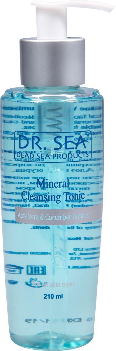 Dr.Sea Минеральный очищающий тоник с экстрактами Алоэ Вера и огурца, 210 мл215Тоник Dr. Sea оказывает превосходное очищающее и освежающее воздействие на кожу, успокаивает ее, активизирует кровообращение, способствует укреплению капилляров, поддерживает водный баланс кожи. Содержит минералы Мертвого моря, экстракты алоэ вера и огурца. Подходит для всех типов кожи. Способ применения: нанесите необходимое количество средства на ватный диск и протрите лицо и шею по массажным линиям, исключая область вокруг глаз. Затем нанесите увлажняющий или питательный крем серии Dr. Sea. Рекомендуется использовать утром и вечером, а также после применения маски или пилинга.Основу косметики Dr. Sea составляют минералы, грязи и органические вытяжки Мертвого моря, а также натуральные растительные экстракты. Косметические средства Dr. Sea разрабатываются и производятся исключительно на территории Израиля в новейших технологических условиях, позволяющих максимально раскрыть и сохранить целебные свойства природных компонентов. Ни в одном из препаратов не содержится парааминобензойная кислота (так называемый парабен), а в составе шампуней и гелей для душа не используется Sodium Lauryl Sulfate. Уникальность минеральной косметики Dr. Sea состоит в том, что все компоненты, входящие в рецептуру, натуральные. Сочетание минералов, грязи, соли и других натуральных составляющих, усиливают целебное действие и не дают побочных эффектов. Характеристики:Объем: 210 мл. Производитель: Израиль. Товар сертифицирован.