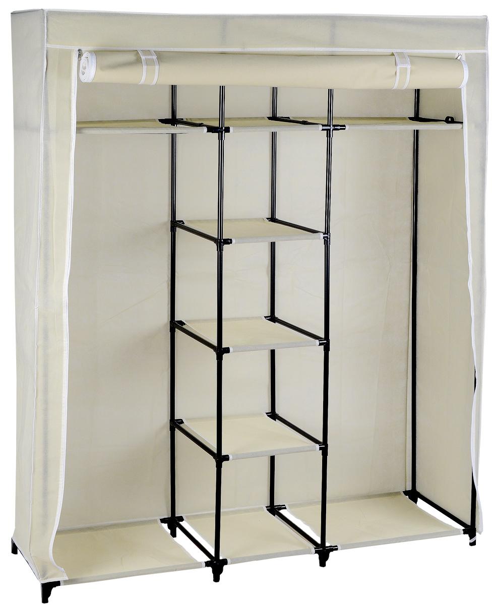 Мобильный шкаф для хранения, 138 х 45 х 167 смWD-5099Мобильный шкаф предназначен для хранения одежды и аксессуаров, он компактный, легкий, быстро собирается, имеет консервативную расцветку. Шкаф представляет собой сборный металлический каркас, на который натянут чехол из нетканого полотна. Закрывается шкаф на молнии, при этом текстильную дверцу можно зафиксировать в открытом состоянии с помощью липучек. Небольшие пластиковые ножки устойчивы на любой поверхности, будь то паркет, линолеум или ковровое покрытие. Вместительный и компактный шкаф станет незаменимым дома или на даче, а классическая расцветка позволит ему вписаться в любой интерьер. С таким шкафом ваши вещи всегда будут в порядке.