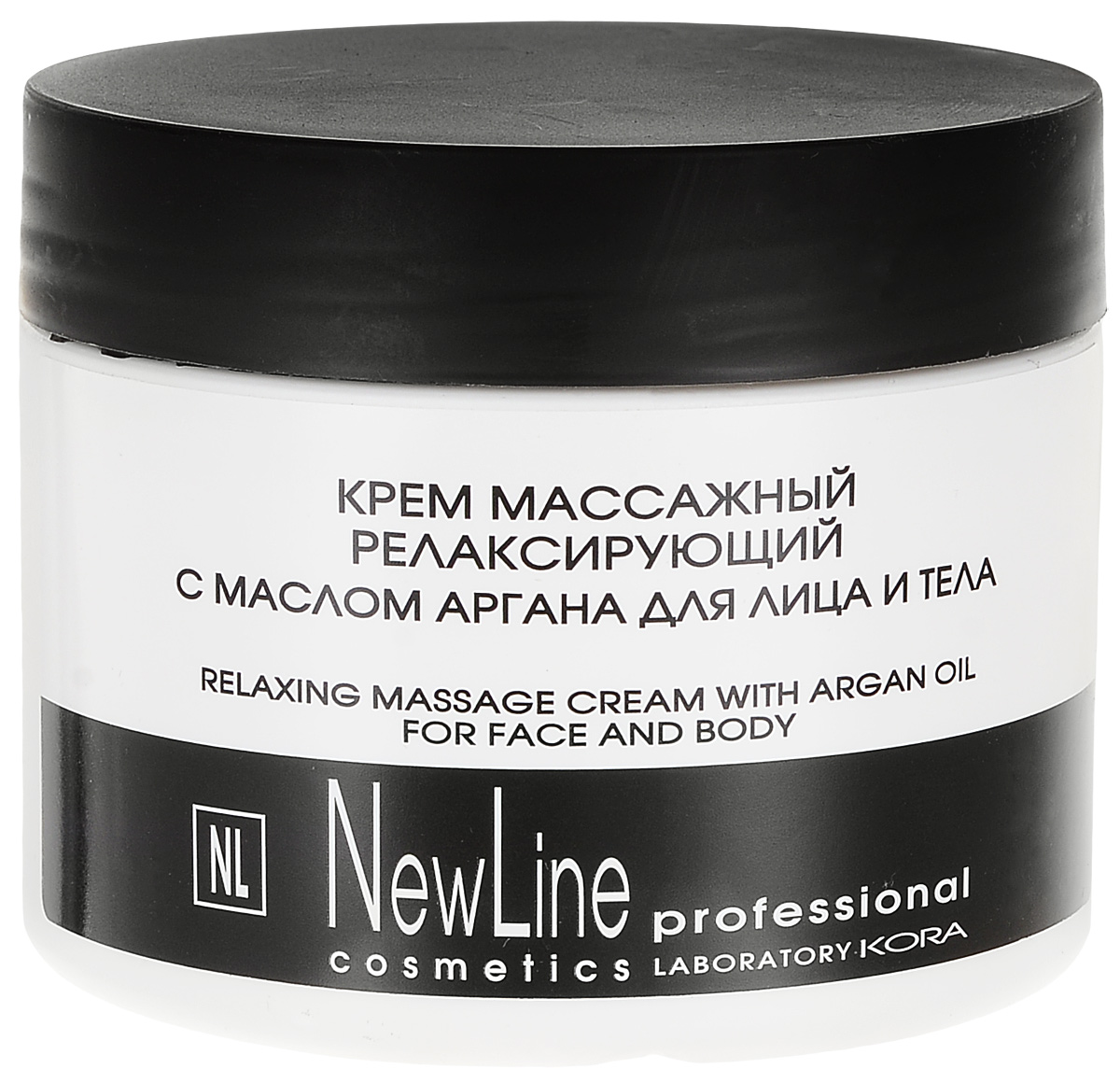 New Line Крем массажный релаксирующий с маслом аргана, 300 мл24804Предназначен для профессионального массажа лица и тела. Оказывает успокаивающее, увлажняющее действие, питает и смягчает кожу, делает ее более эластичной, не закупоривает поры. Оптимальная формула для чувствительной кожи.Обладает выраженными скользящими свойства-ми, что позволяет провести полноценный и комфортный массаж.