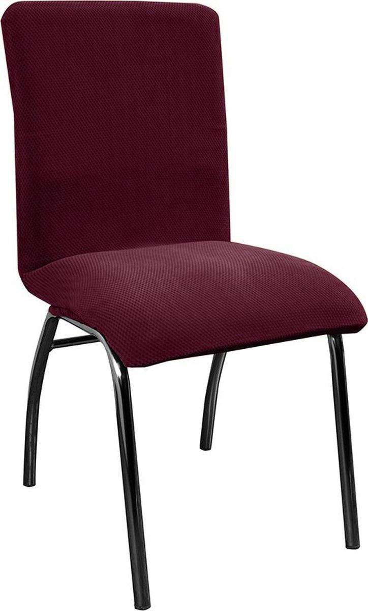 Чехол на стул Медежда Бирмингем, цвет: фиолетовый1408030110002Чехол на стул Медежда Бирмингем изготовлен из стрейчевого велюра (100% полиэстер), приятного на ощупь. Велюр - по праву один из лидеров среди мебельных тканей. Сочетание нежности и прочности - его визитная карточка. Вещи из него даже спустя много лет выглядят, как новые. Такой чехол защитит ваш стул от шерсти домашних животных, пятен, износа и освежит его внешний вид. Тонкий геометрический дизайн добавляет уют помещению. Чехол легко растягивается и хорошо принимает форму стула. Рекомендуемая высота спинки от 40 до 60 см, ширина сиденья от 40 до 55 см. Чехлы на мебель Медежда универсальны и подходят на большинство моделей мебели. Такова особенность кроя изделий свободного стиля или тянущегося материала стрейч стиля. Основное значение при подборе имеет только ширина спинки.