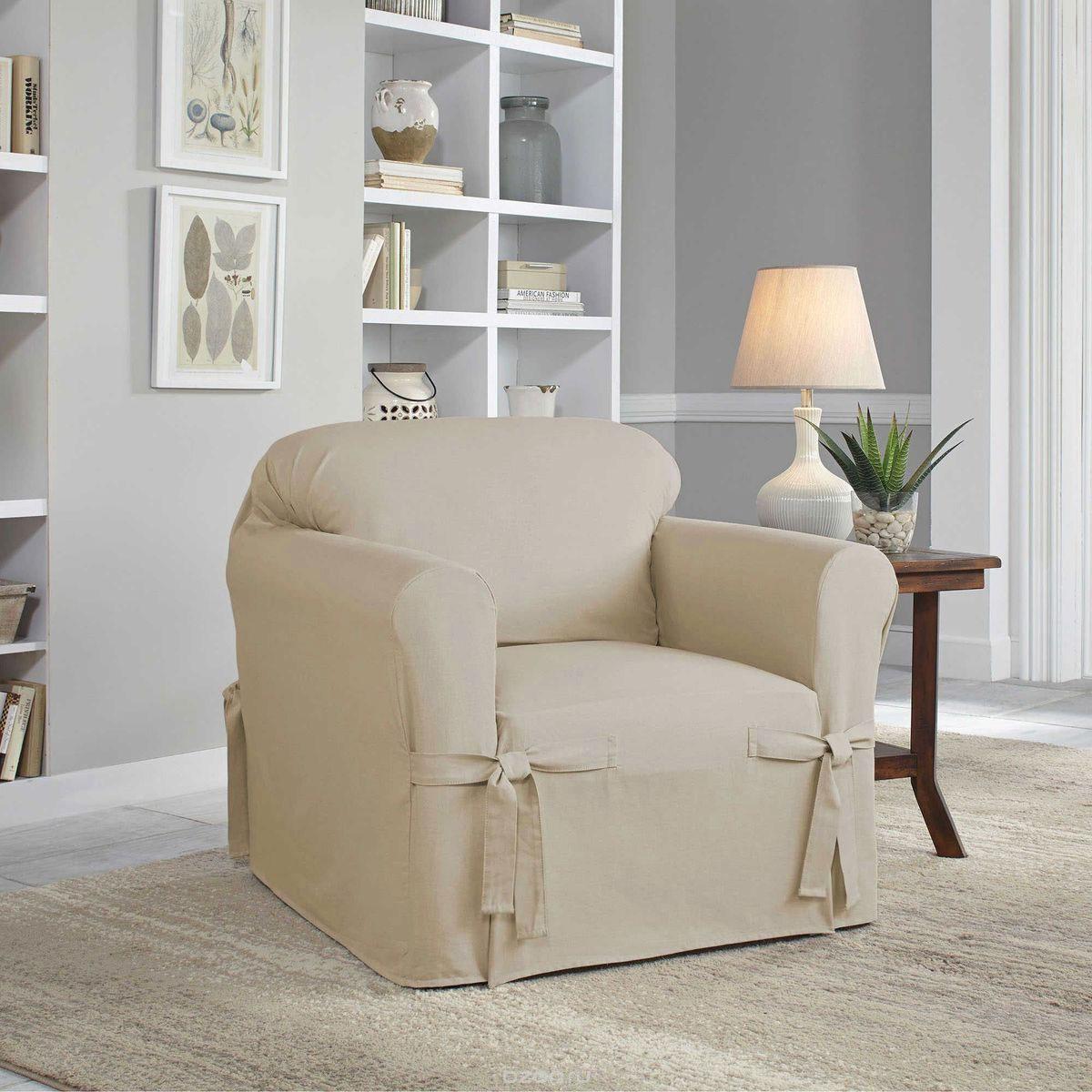 Чехол на кресло Медежда Брайтон, цвет: бежевый1401011203000Чехол на кресло Медежда Брайтон изготовлен из 60% хлопка и 40% полиэстера. Чехол не эластичен, но хорошо принимает форму кресла. Подходит для кресел с шириной спинки от 80 до 110 см. Благодаря классической однотонной расцветке чехол легко гармонирует почти со всеми палитрами цвета и любым типом интерьера. Изделие украсит вашу гостиную и создаст комфорт и уют в доме.Чехол очень удобен и прост в установке. Машинная стирка при температуре 30°С.Чехлы на мебель Медежда универсальны и подходят на большинство моделей мебели. Такова особенность кроя изделий свободного стиля или тянущегося материала стрейч стиля. Основное значение при подборе имеет только ширина спинки.