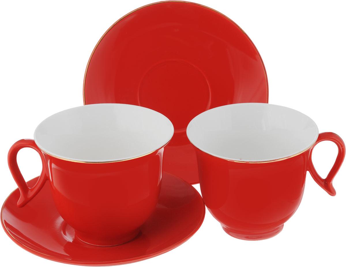 Чайный набор Loraine, цвет: красный, 4 предмета24745Чайный набор Loraine, выполненный из керамики, состоит из 2 чашек и 2 блюдец. Предметы набора имеют яркую расцветку. Изящный дизайн и красочность оформления придутся по вкусу и ценителям классики, и тем, кто предпочитает современный стиль. Чайный набор - идеальный и необходимый подарок для вашего дома и для ваших друзей в праздники, юбилеи и торжества! Он также станет отличным корпоративным подарком и украшением любой кухни. Чайный набор упакован в подарочную коробку из плотного цветного картона. Внутренняя часть коробки задрапирована белым атласом.Диаметр кружки (по верхнему краю): 9,3 см.Высота стенки: 7,5 см.Диаметр блюдца: 14,2 см.Высота блюдца: 2 см.Объем чашки: 220 см.