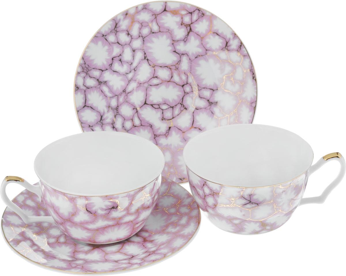 Набор чайный Loraine, цвет: розовый, белый, 4 предмета20987Чайный набор Loraine, выполненный из керамики, состоит из 2 чашек и 2 блюдец. Предметы набора имеют яркую расцветку. Изящный дизайн и красочность оформления придутся по вкусу и ценителям классики, и тем, кто предпочитает современный стиль. Чайный набор - идеальный и необходимый подарок для вашего дома и для ваших друзей в праздники, юбилеи и торжества! Он также станет отличным корпоративным подарком и украшением любой кухни. Чайный набор упакован в подарочную коробку из плотного цветного картона. Внутренняя часть коробки задрапирована белым атласом.Диаметр кружки (по верхнему краю): 9,7 см.Высота стенки: 5,9 см.Диаметр блюдца: 15,5 см.Высота блюдца: 1,7 см.Объем чашки: 250 см.