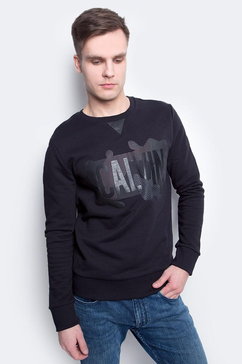 Толстовка мужская Calvin Klein Jeans, цвет: черный. J30J305057_0990. Размер XL (50/52) куртка мужская calvin klein jeans цвет синий j30j306966 4020 размер xl 50 52