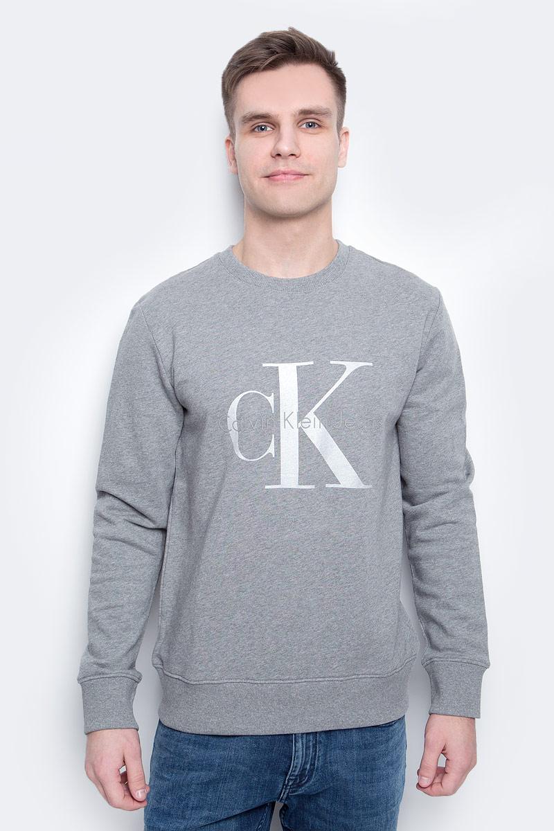 Толстовка мужская Calvin Klein Jeans, цвет: серый. J30J304958_0380. Размер XXL (52/54) куртка мужская calvin klein jeans цвет синий j30j305551 4020 размер xxl 52 54