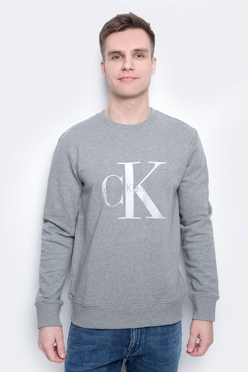 Толстовка мужская Calvin Klein Jeans, цвет: серый. J30J304958_0380. Размер XXL (52/54) толстовка детская calvin klein jeans kck3f1ktkb8100xa 130