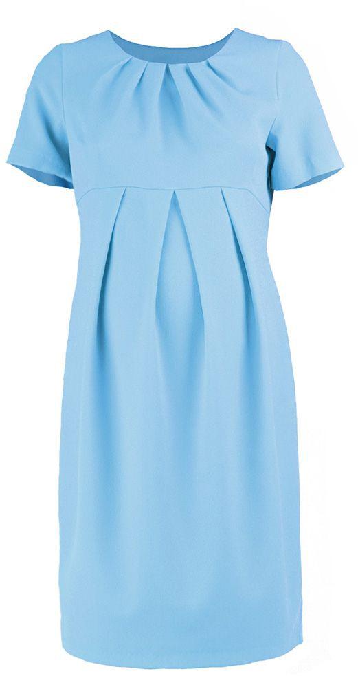 Платье для беременных Mammy Size, цвет: голубой. 5123512173. Размер 425123512173Платье для беременных Mammy Size классического фасона выполнено из полиэстера. Модель приталенного кроя и выделенное складками на животике.