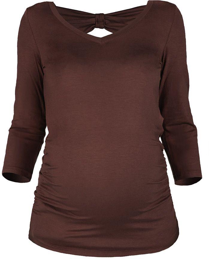 Блузка для беременных Mammy Size, цвет: шоколадный. 371411618. Размер 46371411618Блузка для беременных Mammy Size с V-образным вырезом горловины и рукавами 3/4.