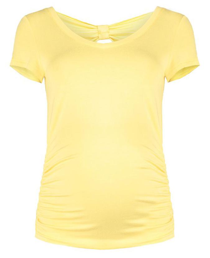 Футболка для беременных Mammy Size, цвет: желтый. 370811616. Размер 42370811616Элегантная футболка из легкой комфортной тканис припуском на живот и декоративной отделкой на спинке. Универсальность посадки дает возможность носки до, во время и после беременности.