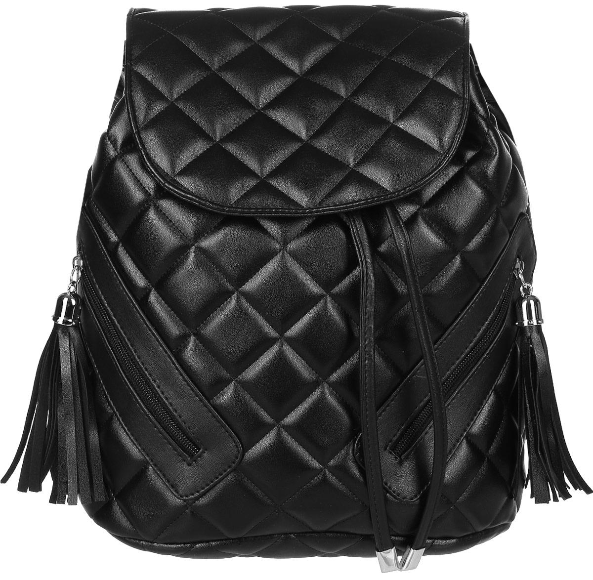 Рюкзак женский Аntan, цвет: черный. 46500650199104650065019910Стильный рюкзак Аntan выполнен из высококачественной искусственной кожи.Изделие спереди оснащено вертикальными карманами, которые закрываются назастежки-молнии. Рюкзак оснащен петлей для подвешивания и удобными лямками,длину которых можно регулировать с помощью пряжек. Изделие закрывается спомощью затягивающегося шнурка и и клапана. Внутри изделие имеет одинкарман на застежке-молнии.