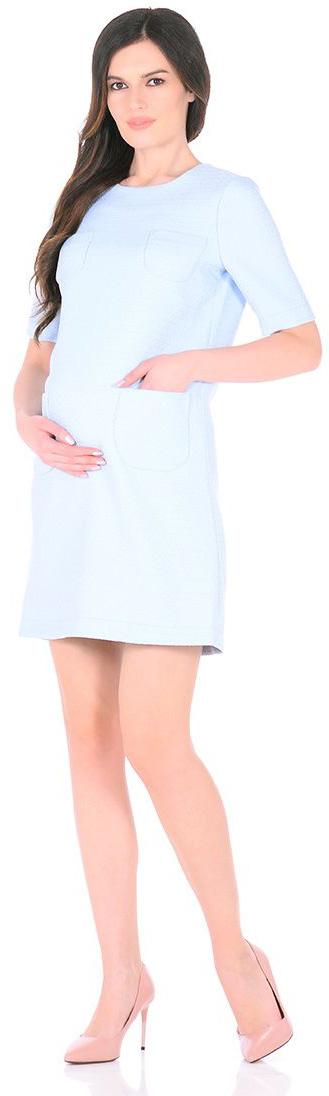 Платье для беременных Mammy Size, цвет: голубой. 3030512173. Размер 443030512173Платье для беременных Mammy Size выполнено из полиэстера. Модель с круглым вырезом горловины и короткими рукавами.