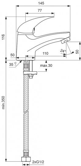 """Смеситель для умывальника Vidima """"Орион"""" имеет корпус и  излив из 100% латуни. Изделие устанавливается на раковину.  Система облегченного монтажа EasyFix обеспечивает  комфорт во время установки и надежность эксплуатации.  Смеситель снабжен литым изливом и аэратором Perlator.  Металлическая рукоятка имеет систему защиты от  нагревания Comfort Touch и индикатор холодной/горячей  воды. Среди других особенностей: возможность установки  нажимного донного клапана, наличие съемных шлангов.   Технические характеристики:  Высота излива: 110 мм.  Керамический картридж: 35 мм.  Подводка гибкая: G1/2"""